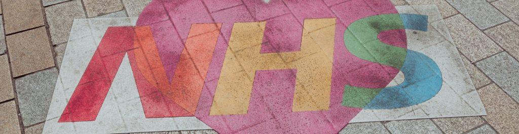 NHS heart drawn on pavement